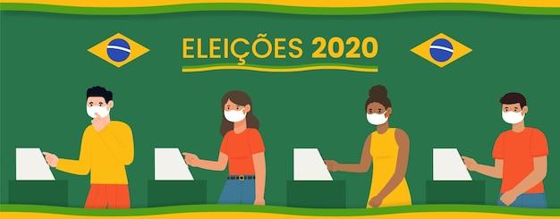 La gente de brasil vota cola con mascarilla ilustrada Vector Premium