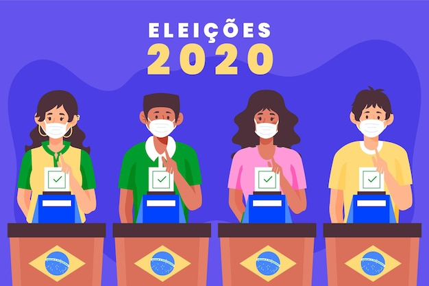 Gente de brasil votando y usando máscara médica Vector Premium