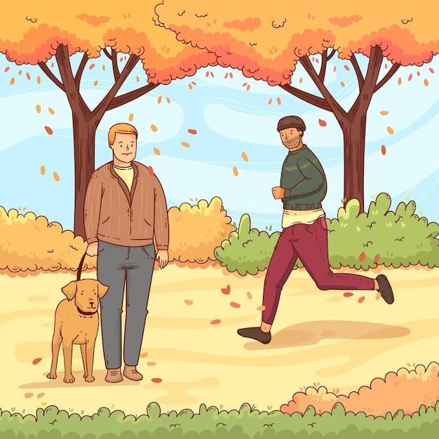 Gente caminando en otoño con perro vector gratuito