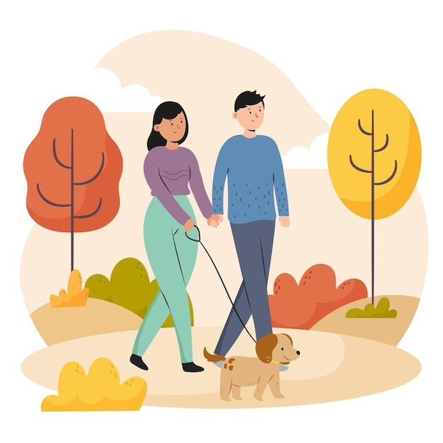 Gente caminando en otoño vector gratuito