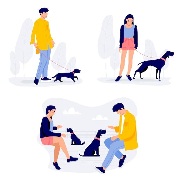 Gente caminando con perros, hombres y mujeres con sus mascotas. Vector Premium