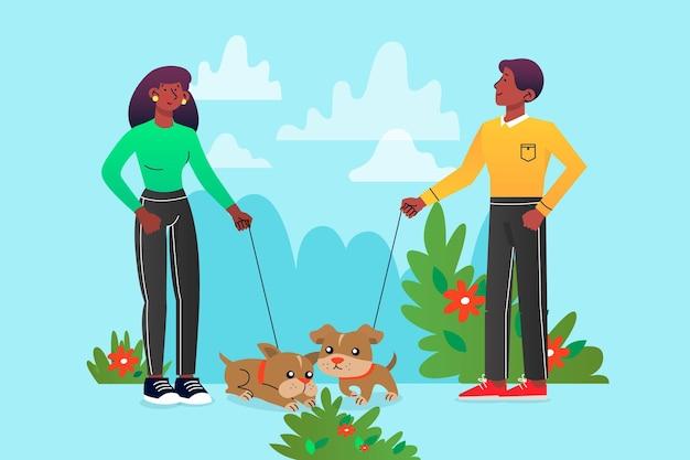 Gente caminando con sus mascotas afuera vector gratuito
