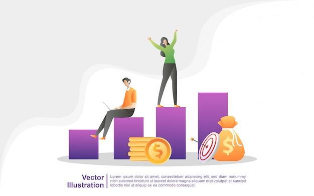 La gente celebra el éxito en la tabla, el éxito empresarial, la libertad financiera. Vector Premium