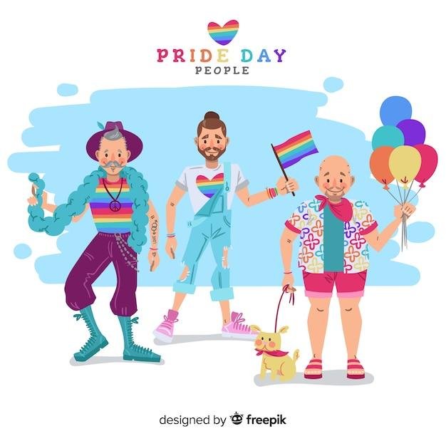 Gente celebrando el día del orgullo lgbt vector gratuito