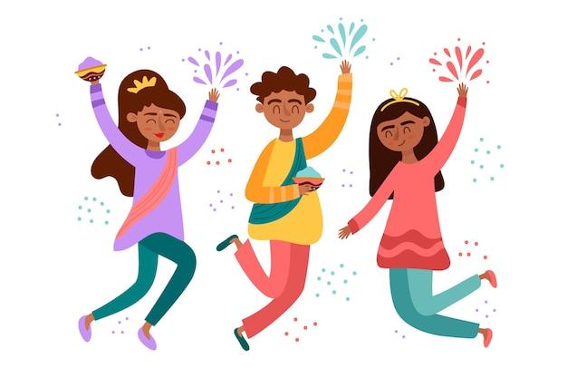 Gente celebrando el festival holi vector gratuito