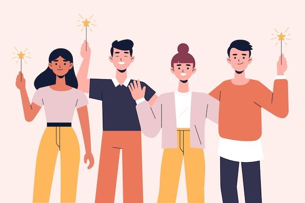 Gente celebrando juntos vector gratuito