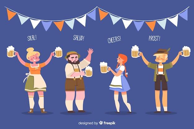 Gente celebrando el oktoberfest en diseño plano vector gratuito