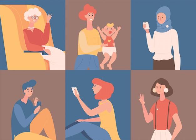 Gente chateando y hablando con la ilustración de dibujos animados de teléfonos inteligentes. citas en línea, red social. Vector Premium