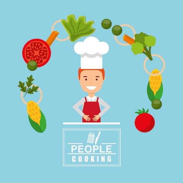 Gente cocinando diseño vector gratuito