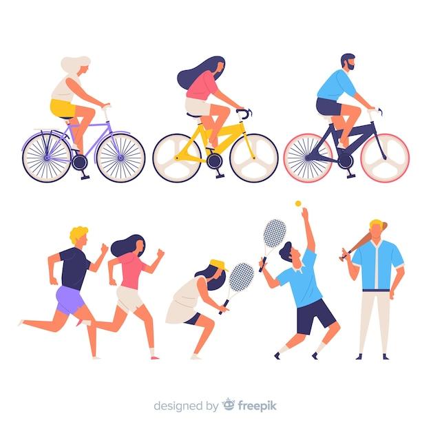 Gente colorida haciendo deporte vector gratuito