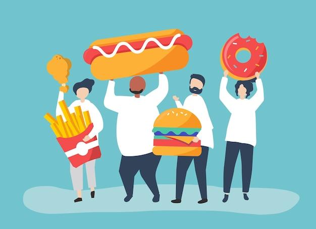 Gente comiendo comida chatarra vector gratuito