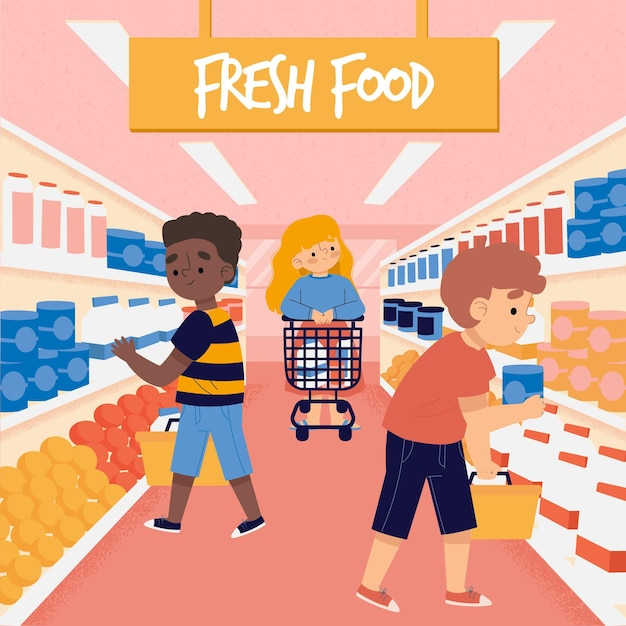 La gente compra comestibles vector gratuito