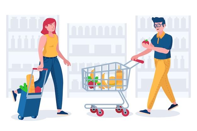 Gente comprando productos saludables vector gratuito