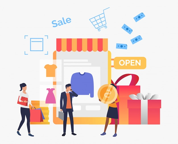 Gente comprando ropa en tienda online. vector gratuito