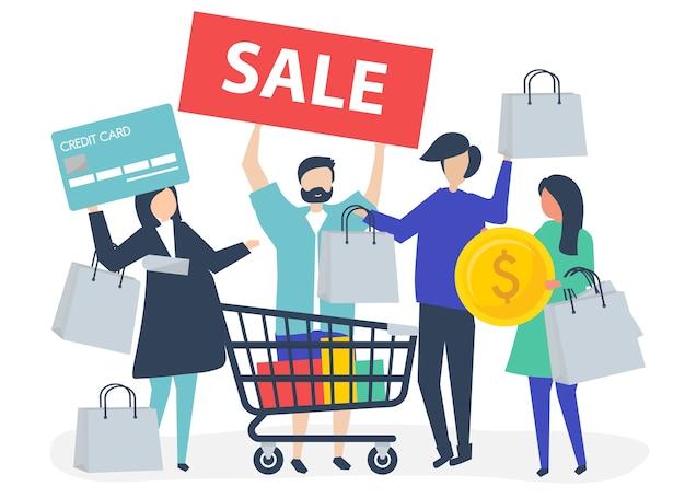 Gente comprando con tarjeta de crédito. vector gratuito