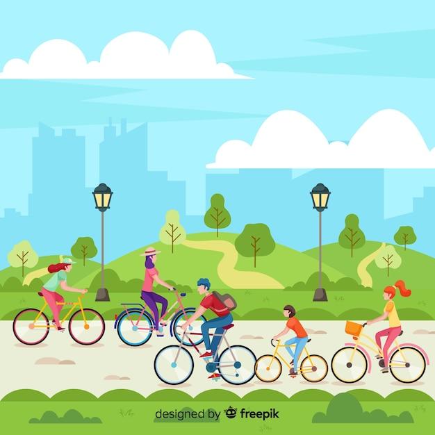 Gente conduciendo bicicletas en el parque vector gratuito