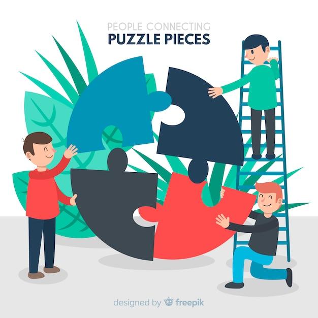 Gente conectando piezas de puzzle vector gratuito