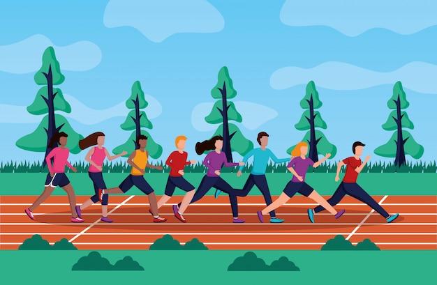 Gente corriendo actividad vector gratuito