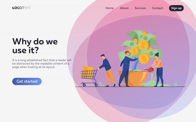 Gente creciendo árbol de dinero vector gratuito