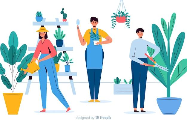 Gente cuidando de las plantas vector gratuito