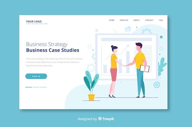 Gente dándose la mano página de inicio de estrategia comercial vector gratuito