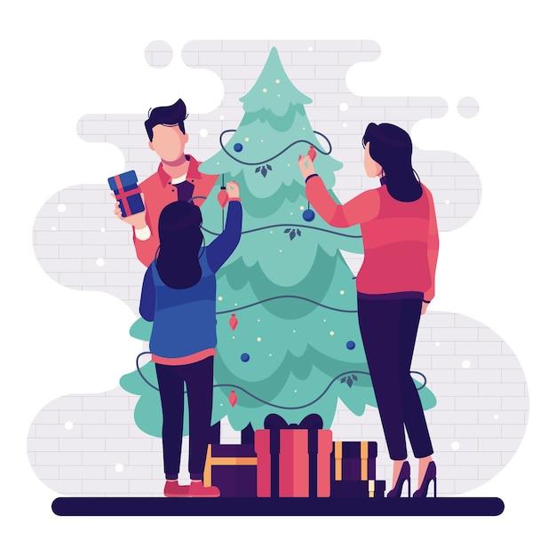 Gente decorando el árbol de navidad con luces de cadena y regalos vector gratuito