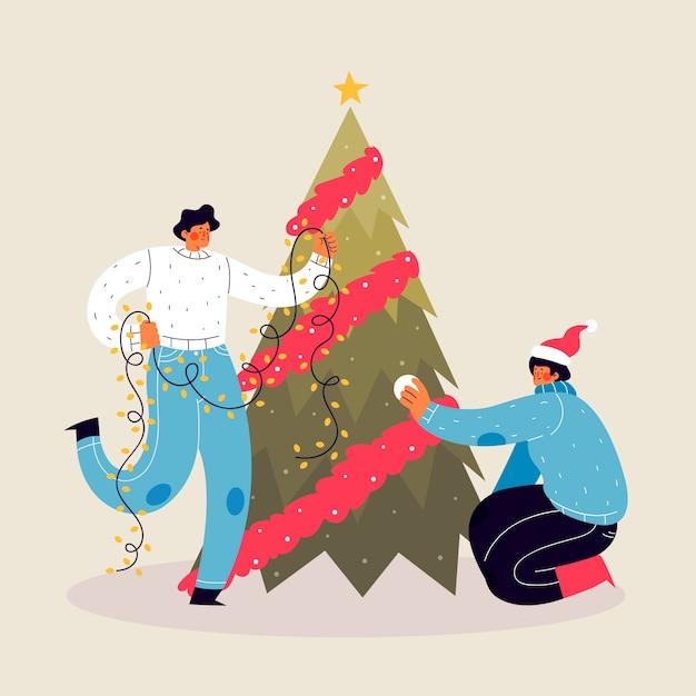 Gente decorando el árbol de navidad con luces de cuerda vector gratuito