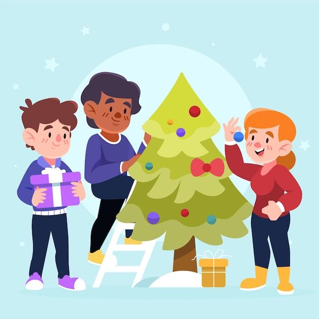 Gente decorando el árbol de navidad vector gratuito