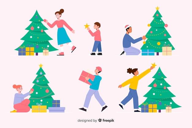 Gente decorando diseño plano del árbol de navidad vector gratuito