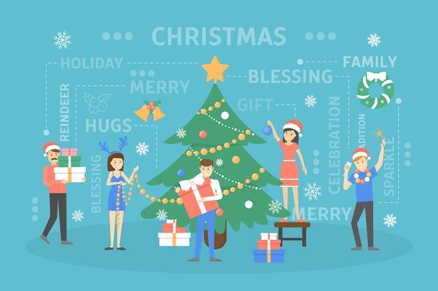 Gente decorando gran árbol de navidad. personajes felices preparándose para la celebración del año nuevo. chicos con regalo y bebiendo champán. ilustración Vector Premium