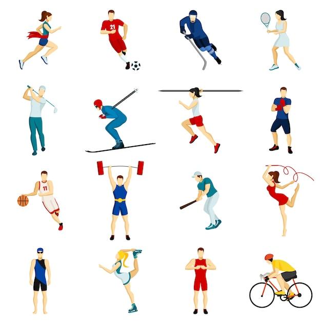 Gente deporte conjunto de iconos vector gratuito
