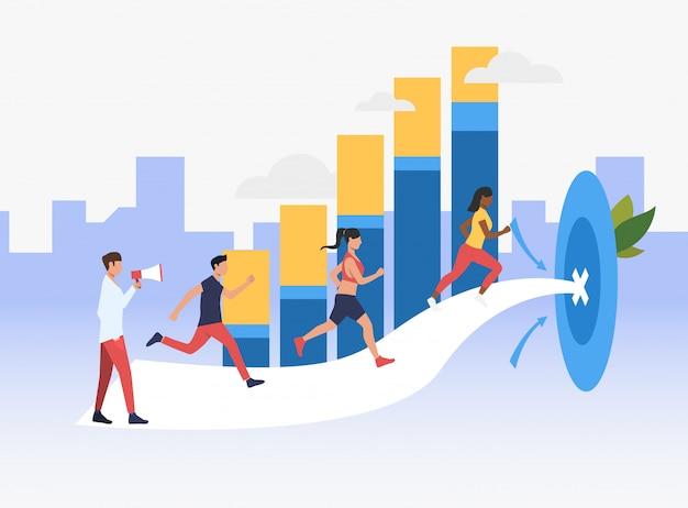Gente deportiva corriendo para apuntar con gráfico de barras en el fondo vector gratuito