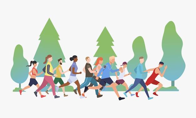 Gente deportiva corriendo maratón en ilustración parque vector gratuito
