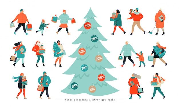 La gente va después de las compras, arrancando cupones de descuento de un árbol de navidad. Vector Premium