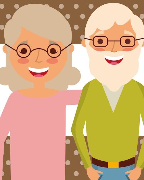Gente del día de los abuelos Vector Premium