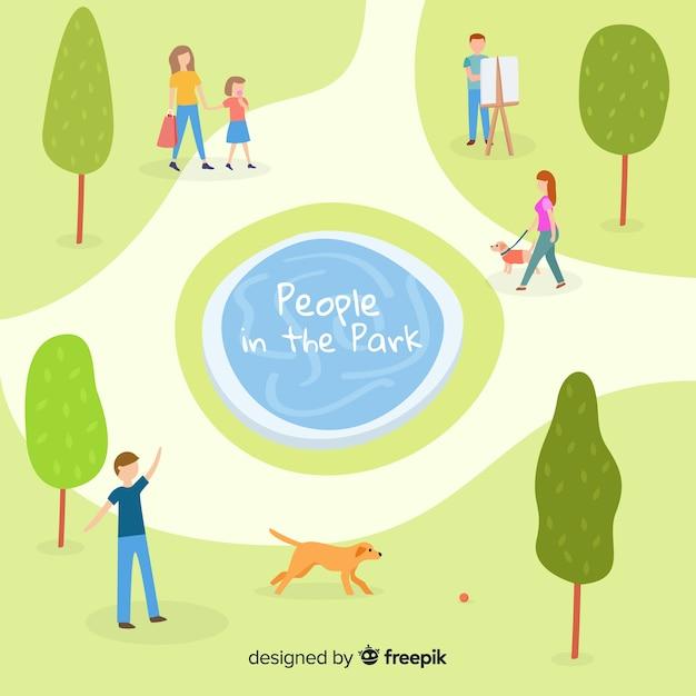 Gente dibujada a mano en el parque vector gratuito