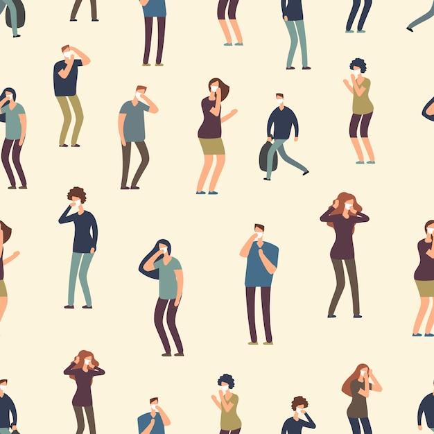 Gente de dibujos animados en patrones sin fisuras de la máscara antipolvo. mala ecología, ilustración de fondo de aire sucio Vector Premium