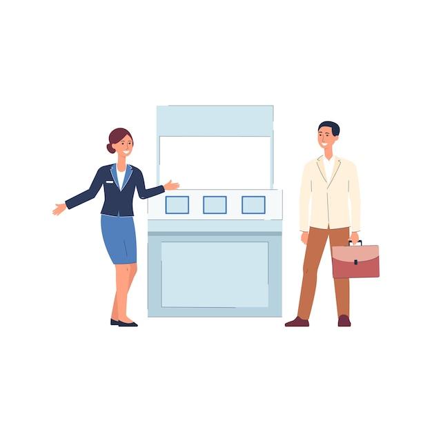 Gente de dibujos animados de pie junto al stand de expo - mujer en uniforme saludando al cliente por mostrador de exposición, puesto de publicidad de productos - ilustración. Vector Premium