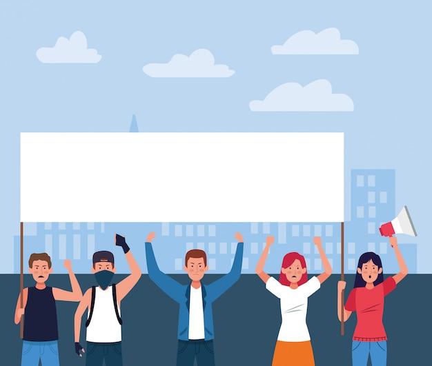 Gente de dibujos animados protestando con carteles en blanco y megáfono Vector Premium