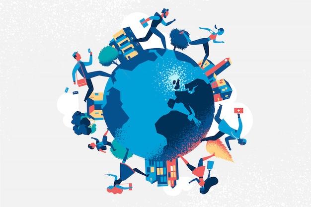 Gente de diferentes profesiones corriendo en el mundo. Vector Premium
