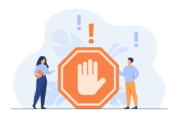 Gente diminuta de pie cerca de gesto prohibido aislado ilustración plana. vector gratuito