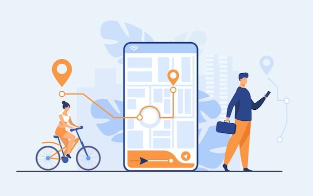 Gente diminuta que usa la aplicación móvil con mapa al aire libre vector gratuito
