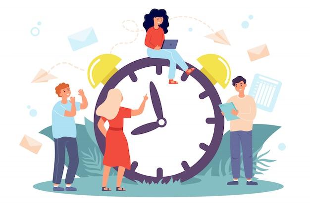 Gente diminuta sentada en un gran reloj vector gratuito