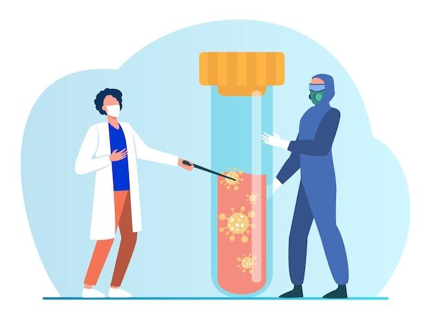 Gente diminuta en uniforme protector con matraz con sangre. coronavirus, máscara, análisis ilustración vectorial plana. pandemia y medicina vector gratuito