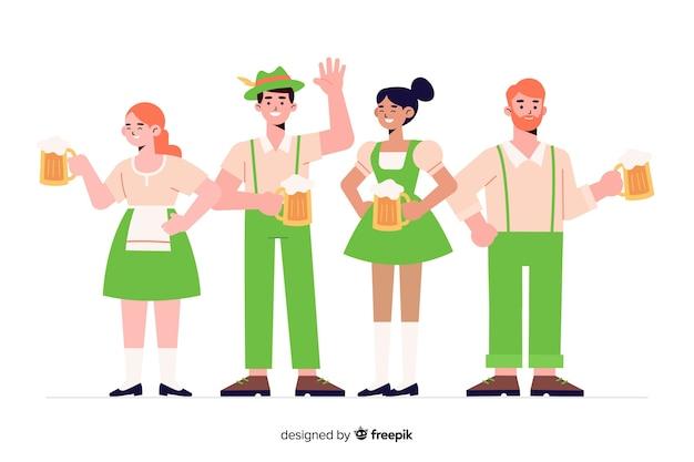 Gente de diseño plano celebrando el oktoberfest vector gratuito
