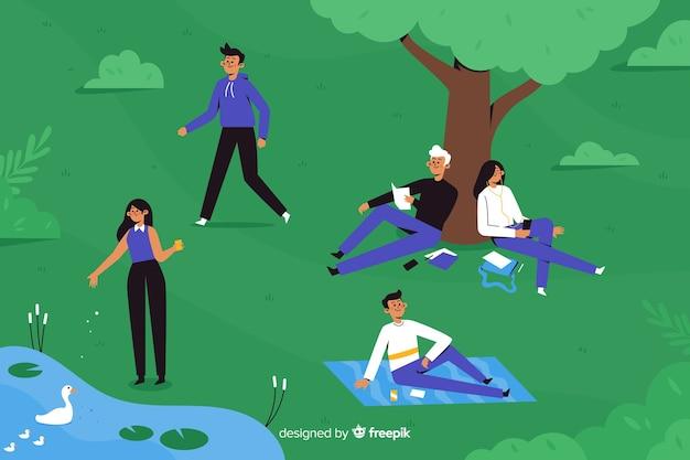 Gente de diseño plano en el parque vector gratuito