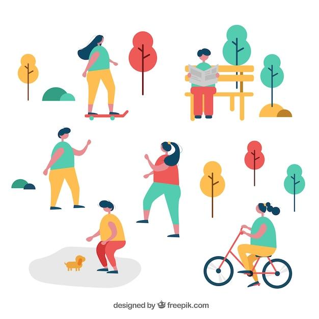 Gente de diseño plano realizando actividades de ocio al aire libre vector gratuito