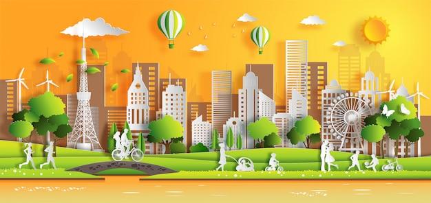 La gente disfruta de actividades al aire libre con el concepto de ciudad verde ecológica. Vector Premium