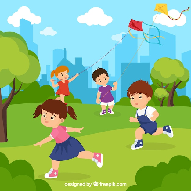 Gente disfrutando de actividades de ocio al aire libre vector gratuito