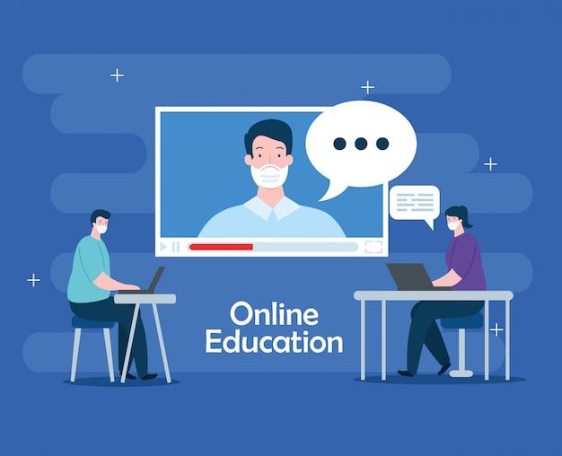 Gente en educación en línea con diseño de ilustración de computadoras portátiles vector gratuito